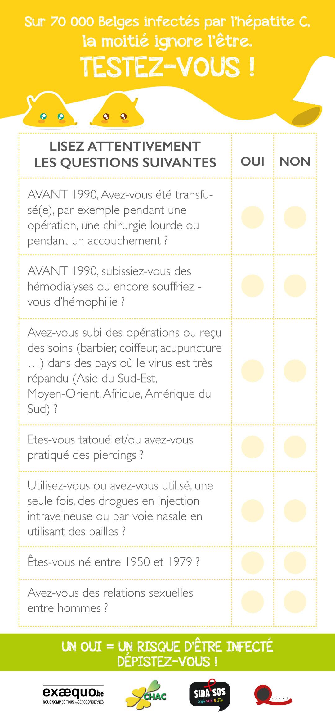 Hépatite C, questionnaire, dépistage, réponses, dépistage